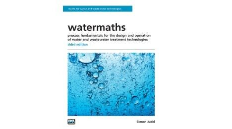 Watermaths book cover, third edition - largely white with an image in blue of bubbling water