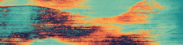 abstract 'windscape' of orange bands wafting against blue-green background