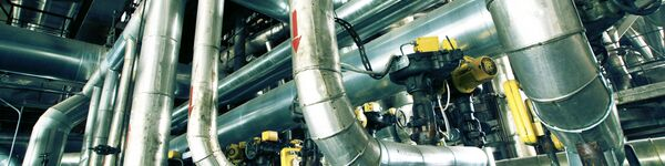 Gas pipes in a sludge processing plant
