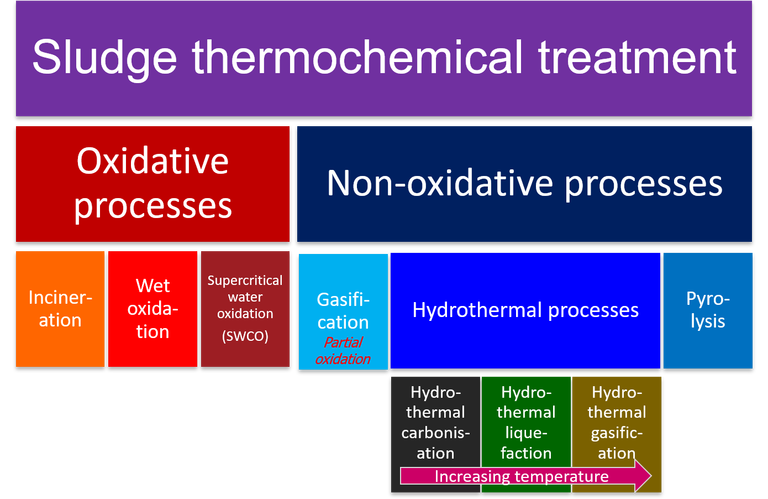 Hierarchy of thermochemical methods for sludge treatment, showing the oxidative processes of incineration, wet (or wet air) oxidation and supercritical water oxidation along with the non-oxidative processes of pyrolysis, gasification and hydrothermal treatment.