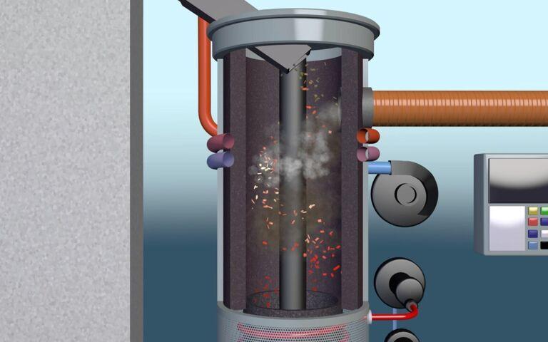Example of biomass pyrolysis treatment scheme