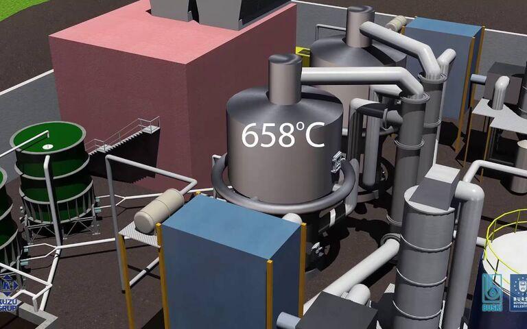 Example of sewage sludge incineration process, Buski
